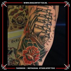 Oldschool/Traditional ship color tattoo on the upper leg. Designed and Tattooed by: Tadeja Dragon Tattoo Tattoo Portfolio, First Tattoo, Color Tattoo, Old School, Dragon, Scene, Ship, Traditional, Tattoos