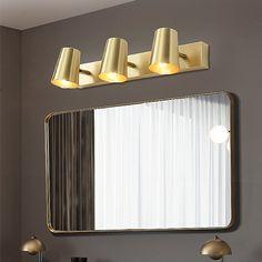 Nordic Brass Mirror Front Light Spot Wall Lamp Bedroom Living Room JQ3307 Contemporary Wall Lights, Modern Wall Lights, Fitted Bedrooms, Lighting Suppliers, Brass Mirror, Chandelier Pendant Lights, Bedroom Lamps, Brass Material, Installation Instructions