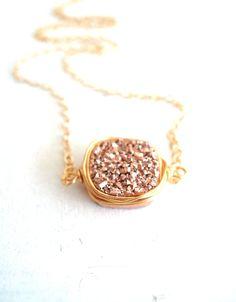 Rose Gold Druzy Necklace - Vitrine Designs