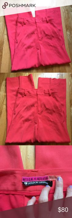 Alice + Olivia Coral Summery Slacks Pants Alice + Olivia Pants with tiny mark pictured hardly noticeable and is on the side back leg super faint. Worn a few times to the office- very professional and cute- ideal for work and are breathable with what feels like a linen blend no fabric tag! Alice + Olivia Pants
