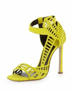 Daniele Michetti Mahima Square-Toe Cutout Sandal, Lime - off, found on sale for MARCUS Shoe Boots, Shoes Heels, Caged Sandals, Heeled Sandals, Dress Sandals, Shoes World, Kinds Of Shoes, Beautiful Shoes, Me Too Shoes