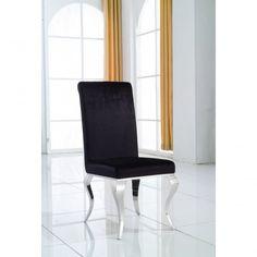 Modern Chrome Leg Black Velvet Upholstered Venetian Designer Metal Dining Side Chair - Seating from Chicmyhome UK Venetian, Black Velvet, Side Chairs, Floor Chair, Accent Chairs, Interior Decorating, Chrome, Legs, Dining