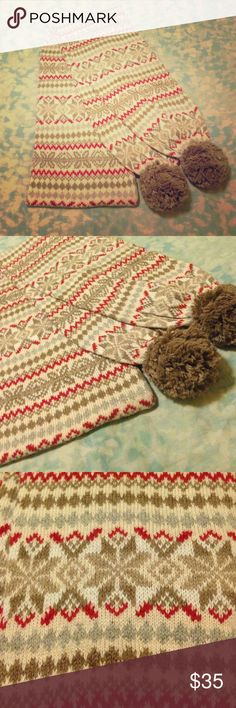 Warm Winter Scarf Pretty fair isle print scarf with poms. 😍 Like new, never used so in perfect condition. Just no tags. Aeropostale Accessories Scarves & Wraps