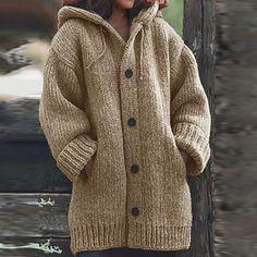 Cardigan Plus Size, Plus Size Cardigans, Chunky Cardigan, Hooded Cardigan, Loose Sweater, Sweater Cardigan, Sweater Outfits, Warm Sweaters, Sweater Coats