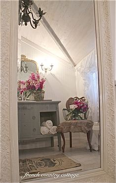 FRENCH COUNTRY COTTAGE: Petite Cottage Bathroom Makeover love floor mirror