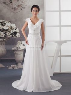 Nevara - Ruffled V Neck Chiffon Bridal Dress with Beaded Waist