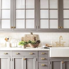 love the gray cabinets chunky gold hardware white sink this is my future kitchenbath