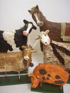 The tilted heads is so cute on these guys. Primitive Paper Mache Folk Art Farm by papiermoonprimitives,