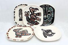 Five Vintage Lambert Potteries Ltd Vancouver BC Native Dishes Signed