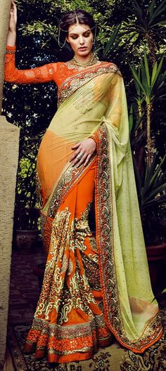 BRIDAL WEAR: BURNT ORANGE - flat 10% off + free shipping.  #Saree #IndianWedding #Partywear #Georgette #Embroidery #lace