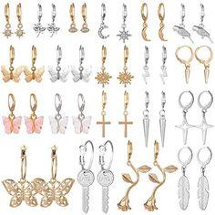 Hoop Dangle Earrings for Women Girls, Funtopia 20 Pairs Mini Huggie Earrings Set with Charms Fashion Gold/Silver Small Hoop Earrings
