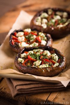Stuffed Portobello Mushrooms With Roast Tomatoes and Goat Cheese-- I love anything with goat cheese!!