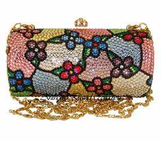 Pink Floral Crystal Evening Bag Clutch Handbag with Swarovski Crystals Swarovski Crystal Clutch Purses, Evening Bags, Leather Purses, Jewelr...
