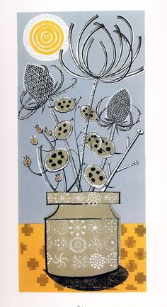 Angie Lewin is a lino print artist, wood engraver, screen printer and painter depicting the UK's natural flora in linocut and other limited edition prints. Illustrations, Illustration Art, Linocut Prints, Art Prints, Block Prints, Angie Lewin, Doodles, Wood Engraving, Autumn Trees