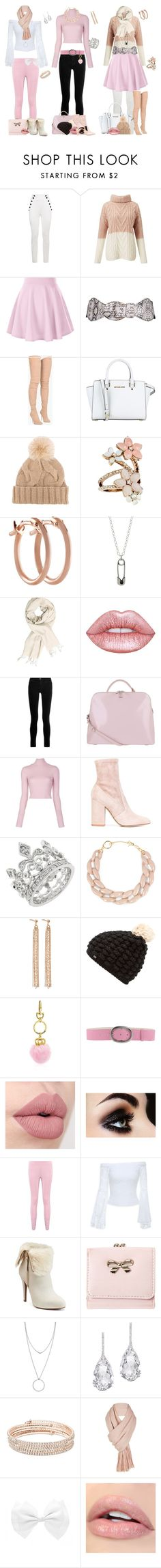 """light pink with white and black"" by svetlozeme ❤ liked on Polyvore featuring Tommy Hilfiger, Miss Selfridge, Balmain, MICHAEL Michael Kors, Loro Piana, Accessorize, Pori, Lime Crime, J Brand and Radley"