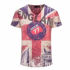 Top Quality New Vintage 3D Print Men T shirts Brand England Flag Men Casual  Cotton T feebe43c32f2