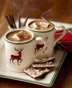 This picture reminds me a little of Christmas, but I definitely start drinking hot chocolate and eating peppermint bark in the fall. ;)
