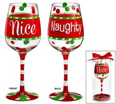Naughty/Nice Christmas Wine glass with red/green dots and a red band in the center. Messages: Nice on the front and Naughty on the back. Each glass comes in a clear acetate box with a satin bow. Measures X 2 and holds HAND WASH ONLY! Christmas Wine Glasses, Diy Wine Glasses, Decorated Wine Glasses, Hand Painted Wine Glasses, Wine Glass Crafts, Wine Craft, Wine Bottle Crafts, Glitter Wine, Diy Bottle