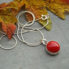 Red coral pendant chain - unique handmade jewelry - red necklace $60.00
