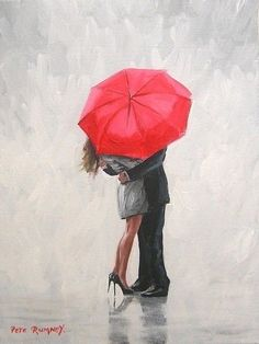 PETE RUMNEY FINE ART MODERN ACRYLIC OIL ORIGINAL PAINTING RED UMBRELLA EMBRACE in Art, Artists (Self-Representing), Paintings | eBay