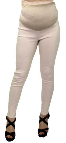 e3f3fcbe1ab68 Womens Maternity Bottoms Pants with Elastic Wear High Waisted (Large, Beige)