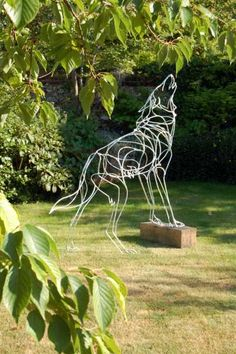 Galvanised welded steel Foxes, Wolves, Wild Dog /statues Sculptures #sculpture by #sculptor Amy Goodman titled: 'Howling Wolf (Wire Steel Garden or Yard Sculptures)' £2250 #art