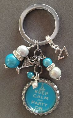 Keep Calm and PARTY ON on bottlecap keychain 21st by KeyChainBling, $16.00