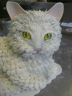 Image detail for -Cat Cake by ~keki-girl on deviantART Unique Cakes, Creative Cakes, Pretty Cakes, Cute Cakes, Beautiful Cakes, Amazing Cakes, Birthday Cake For Cat, Lamb Cake, Lion Cakes