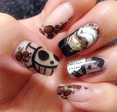 One piece Law nail art Aycrlic Nails, Swag Nails, Cute Nails, Hair And Nails, Anime Nails, Kawaii Nail Art, One Piece Images, Nails First, Finger