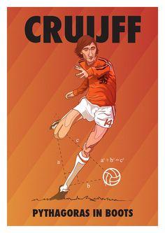 Johan Cruyff - Pythagoras in Boots - by Dan Leydon Johan Cruyff, born 25 April 1947, Dutch international attacking midfielder or forward (1966–1977), Ajax (1964-1973), FC Barcelona (1973-1978), Los Angeles Aztecs (1979-1980), Washington Diplomats (1980-1981), Levante (1981), Ajax (1981–1983), Feyenoord (1983-1984).