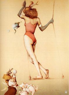 Michael Parkes FOUR FEATHERS 4 muses women destiny fantasy surreal art print