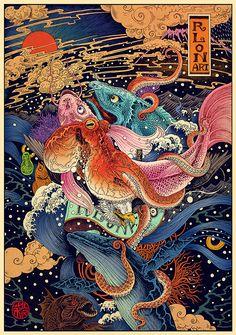 Rlon Wang. Ilustración japonesa increíblemente detallista.
