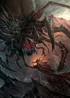 The Bargain With Ungoliant by MorkarDFC on DeviantArt Monster Concept Art, Fantasy Monster, Monster Art, Tolkien, Hobbit, Dark Fantasy Art, Fantasy Artwork, Das Silmarillion, Great Paintings