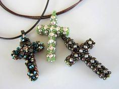 Beaded Cross . Materials: 44 4mm pearls, 48 3mm pearls, 11 3.2mm montees, 11/0 SB
