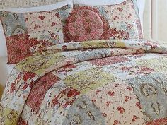Cottage Chic Quilt  Set Queen 5 Pc Shams Bedskirt Pillow Patchwork Beach NEW