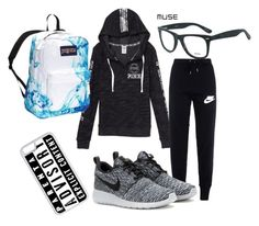 """Untitled #9"" by xobreezy on Polyvore featuring GlassesUSA, Victoria's Secret, CellPowerCases, NIKE and JanSport"