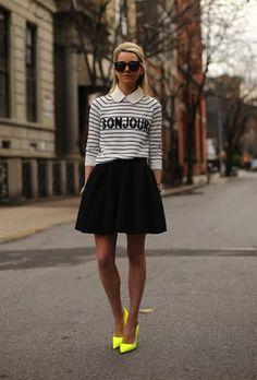 "click to shop Blair Eadie's adorable ""Bonjour"" sweater $50"