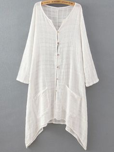 White V Neck Long Sleeve Buttons Pockets Blouse -SheIn(Sheinside) Linen Dresses, Casual Dresses, Dresses Dresses, Dance Dresses, Boho Fashion, Fashion Outfits, Fashion Blouses, Bohemian Mode, Shift Dresses