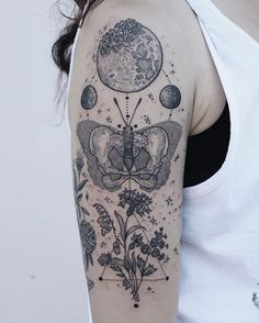 Skeletal butterfly with wilting wildflowers and a crystal moon! Thanks Nicole! ✨