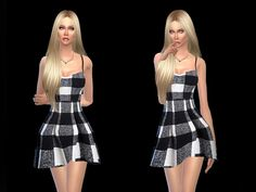 The Sims Resource: Minidress black and white  by Simsoertchen • Sims 4 Downloads
