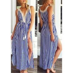 $13.93 Sexy V-Neck Sleeveless Striped High Slit Women's Dress