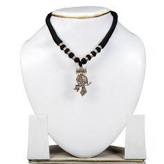 Tribal Necklace Silver oxidized Owl Pendant set Black-Jewellery-Taj Pearl & Arts