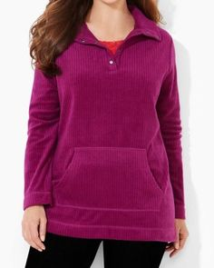 CATHERINES BRUSHED RIB TOP - PLUM - PLUS SIZE 4X (30/32W) #Catherines #Pullover