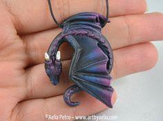 Custom Made Resting Dragon Necklace  Galaxy by ArtByAelia on Etsy