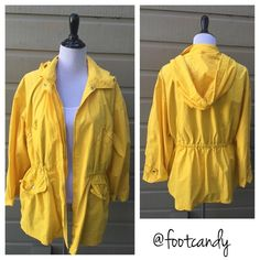 Burberry Classic Yellow Rain Jacket Brand: Burberry Size: M/L Color: Yellow Condition/Comments: Fend off those April showers with this cheerful yellow light rain jacket. Featuring a detachable hood and lots of snaps to keep out the elements. Pre-owned item missing one button for hood (see pic). Can be replaced with another button from back.   CLOSET RULES & BUYER PROTECTION: No PayPal, holds, or trades. Reasonable offers through offer button. After purchase items are subject to extra…