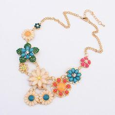 Bridal Multicolor Flowers Decorated Design Alloy Fashion Necklaces