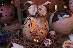 Eule,Lampe,getöpfert,Herbst,Gartendeko,Keramik,Uhu von kunst-werk auf DaWanda.com