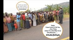 Uganda President, Yoweri Museveni Sits By Road Side to Make Phone Call. ...