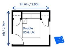 This x x bedroom is the minimum size for a double bed. This one has a deep bed head with a shelf added to make up for the lack of bedside lockers. The door has been reduced to Room Design Bedroom, Bedroom Size, Single Bedroom, Bedroom Layouts, Bedroom Themes, Bedroom Bed, Bed Room, Master Bedroom, Small House Plans