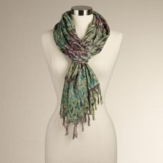 This green and purple Paisley scarf is so pretty.
